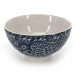 tea bowl with blue patterns white NAMI SHONZUI