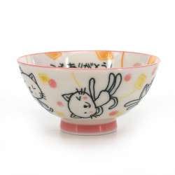 tea bowl for children cat pictures white ITSUMO ARIGATÔ