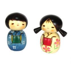duo of Japanese wooden dolls - kokeshi , NAKAYOSHI, children