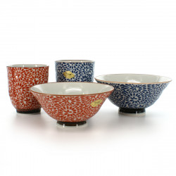 Japanese traditional colour blue and red bowls and teacups set with patterns in ceramic KARAKUSA CHIMON