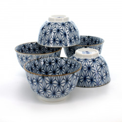 Japanese traditional colour blue 5 teacups set with patterns in porcelain ASANOHA