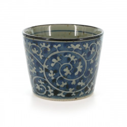 Japanese traditional colour white soba cup with blue patterns in ceramic TAKO KARAKUSA