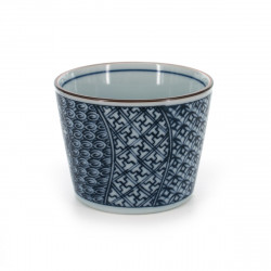 Japanese traditional colour white soba cup with blue patterns in ceramic SHONZUI