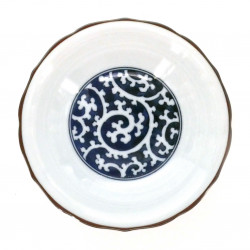 Japanese traditional colour white bowl with blue patterns in ceramic AIZOME TAKO KARAKUSA