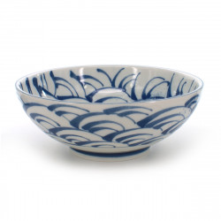 Japanese traditional colour white Large-sized râmen noodle bowl with blue wave patterns in ceramic SEIGAIHA